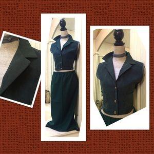 Dresses & Skirts - 1970s unique vintage handmade green vest skirt M♥️